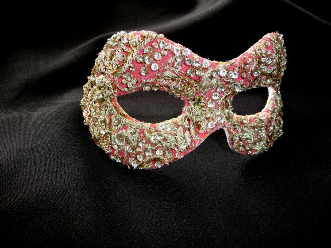 Baroque style Pink & Gold filigree masquerade mask (1a